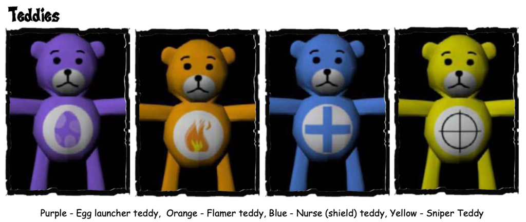An image of the Welcome to H.E.L.L. basic enemies.  It shows four teddy bears: a purple teddy with an egg image on its belly; an orange teddy with fire on its belly; a blue teddy with a pus on its belly; and a yellow teddy with a sniper symbol on its belly.