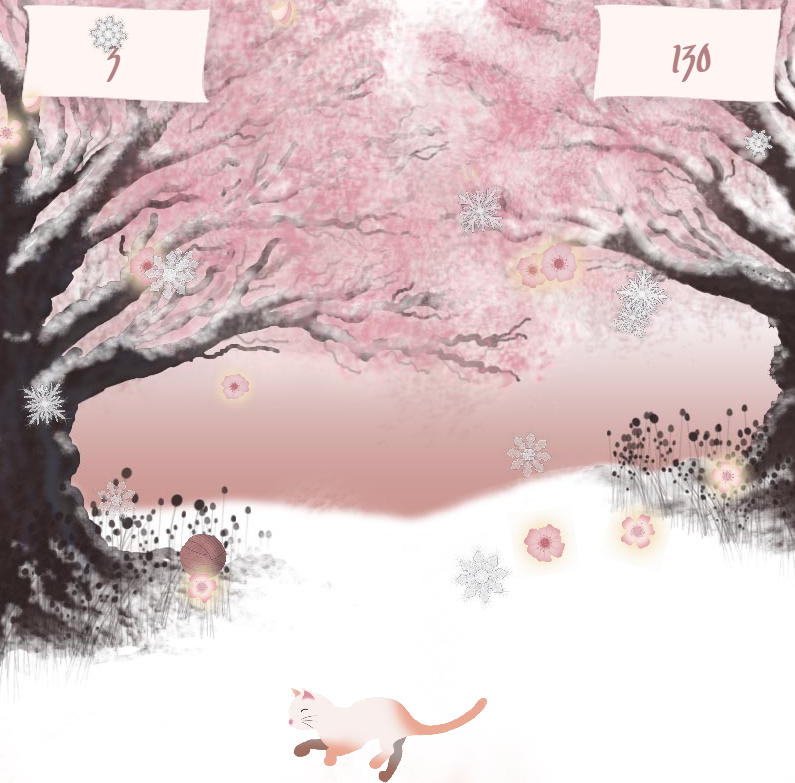 A screen capture from Kitty Blossom, showing a pale colored cat in a snowy environment with cherry blossom trees in the back ground. From the sky are falling snow flakes and cherry blossoms.