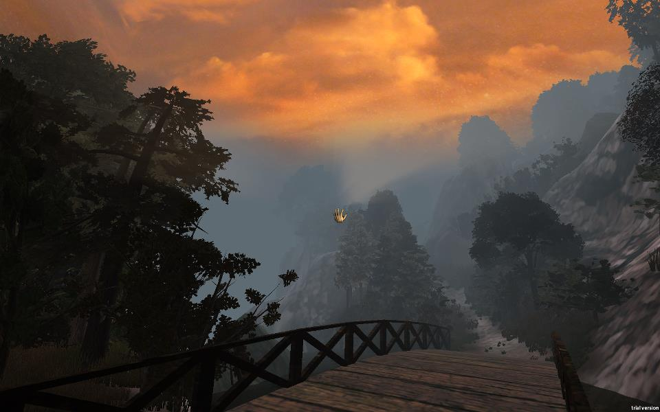 An screen capture from the game of a golden cloudy sky and a bridge with a path through a forest.